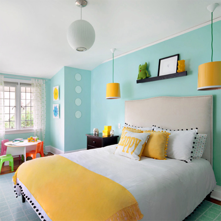 home dzine decorate with turquoise and yellow. Black Bedroom Furniture Sets. Home Design Ideas