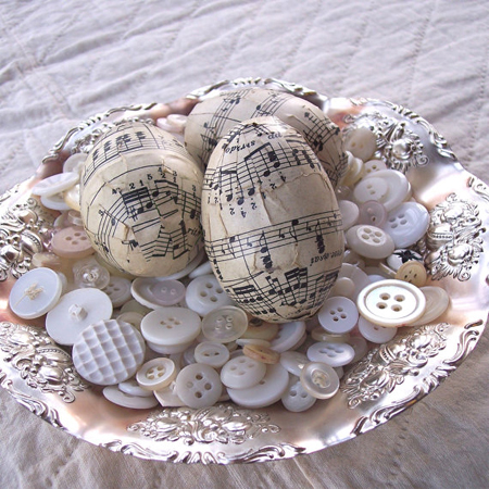 Easter egg ideas decoupage sheet music