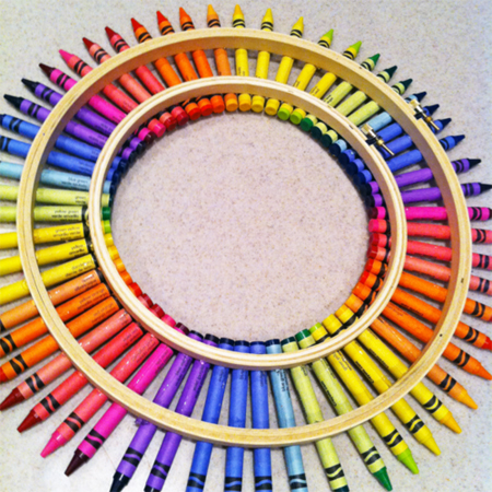 colourful crayon wreath