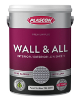 Plascon Wall & All comes in white and the standard colours indicated
