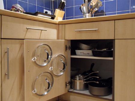 HOME DZINE Kitchen | Self-adhesive hooks hold pot lids