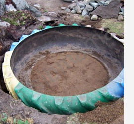 Turn an old tyre into a tranquil pond
