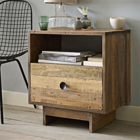 reclaimed timber wood bedside table cabinet