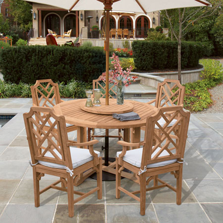 Indoors or outdoors, fitting a table with a lazy susan or rotating turntable adds a fun element to dining