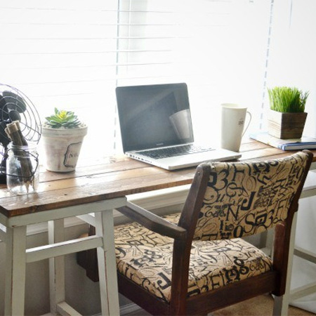 Bar stools make a perfect desk for home office