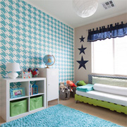 Houndstooth stencilled feature wall