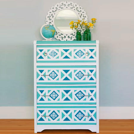 stencil chest of drawers geometric painted cabinets