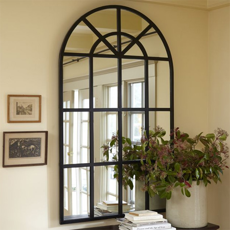Home dzine home decor diy arched window mirror for Window arch wall decor