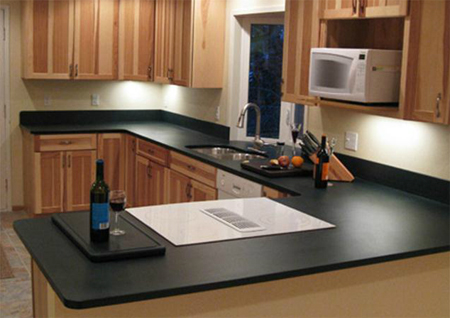 kitchen countertop made from 100% recycled materials