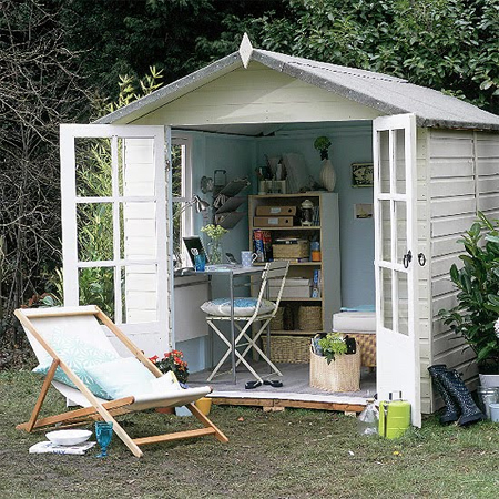 Home dzine garden a garden shed hut or wendy house as a for Shed office interior