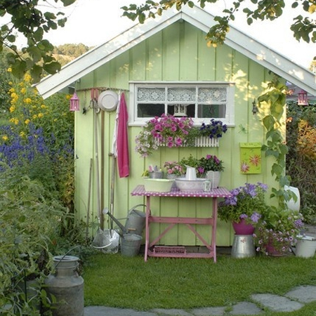 Home dzine garden a garden shed hut or wendy house as a Garden wall color ideas