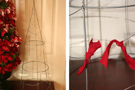 fabric scrap christmas tree  festive holiday christmas decoration