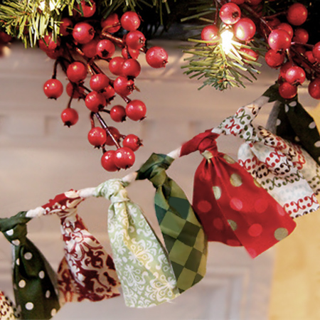 fabric scrap garland festive holiday christmas decoration