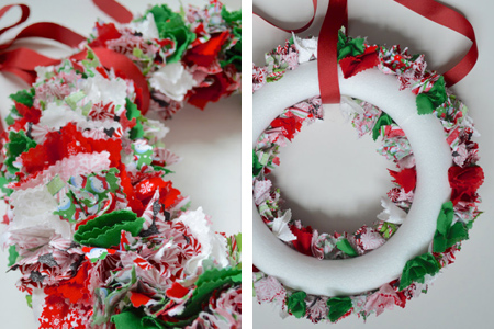 Fabric Scrap Wreath Festive Holiday Christmas Decoration