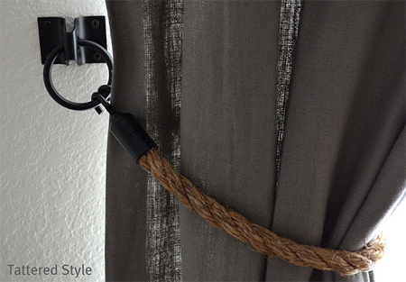 Make your own rope curtain tiebacks with hardware from builders warehouse