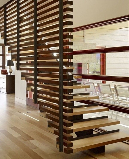 modern staircase with timber wood slat side panels