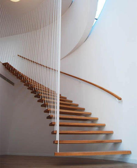 modern contemporary staircase timber wood treads stairs open wire side panels
