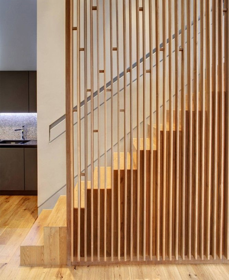 modern contemporary staircase timber wood treads stairs open wood slat side panels