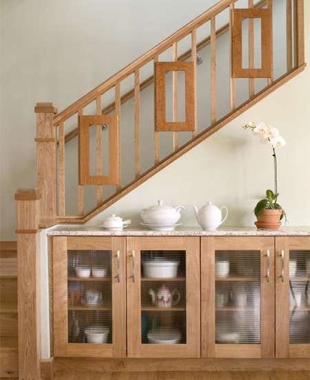 traditional stairs with decorative side panel balustrade
