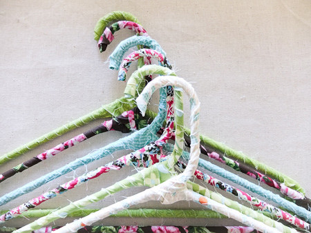 Fabric wrapped coat hangers