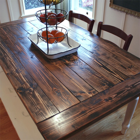 Charmant Dining Table Top Makeover With Rustic Finish For Farmhouse Style