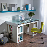 Home office desk with glass-topped storage space