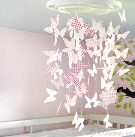 Paper butterfly mobile or chandelier