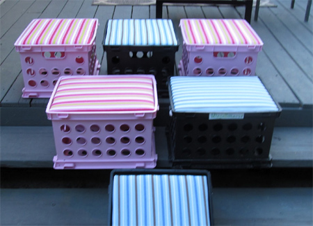 recycle upcycle plastic crates into upholstered stools or chairs