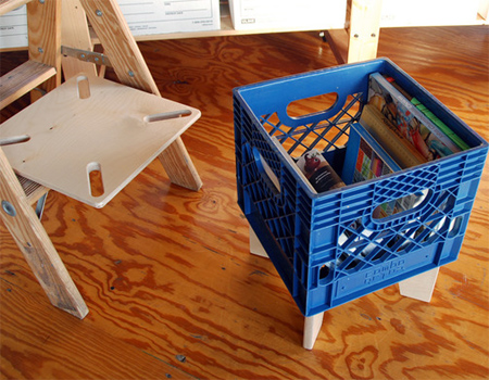 recycle upcycle plastic crates into upholstered stools or chairs or plastic crate tables