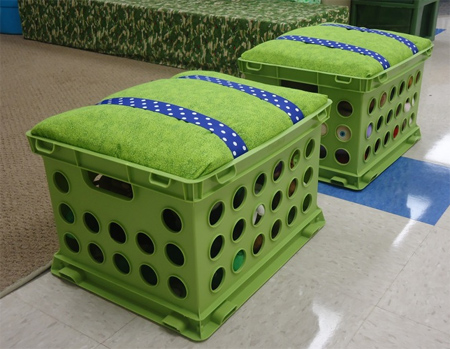 recycle upcycle plastic crates into upholstered stools with lift up lid for storage