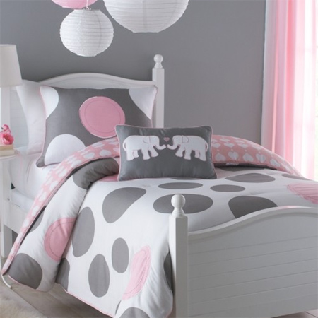 Light Pink And Black Polka Dot Bedding