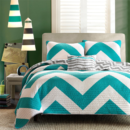 Feel Of The Bedroom Room Instantly A Bright Teal And White Chevron