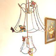 Fabric wrapped wire lampshades