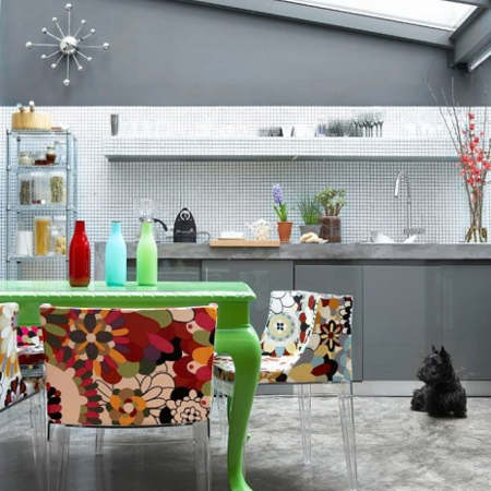 garage transformed into kitchen living space