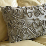 Decorative cushion cover with t-shirt scraps