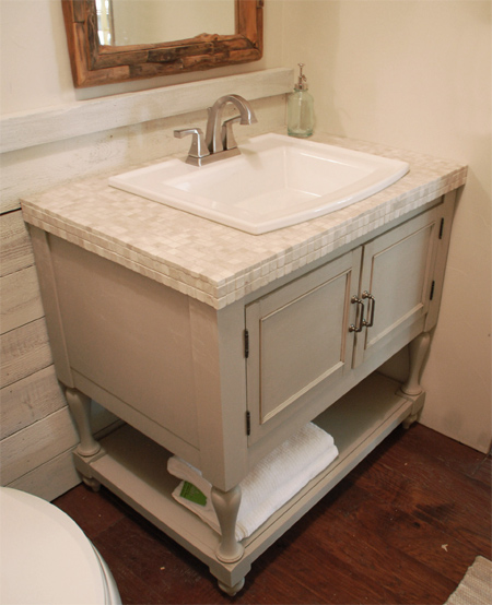 HOME DZINE Bathrooms Make A Vintage Bathroom Vanity - How to make a bathroom vanity
