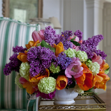 lilacs and tulips fresh spring flower arrangement display