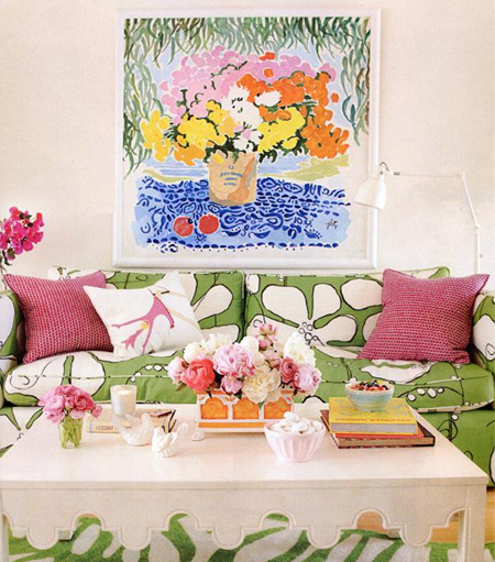 Colourful home interiors interior design green pink