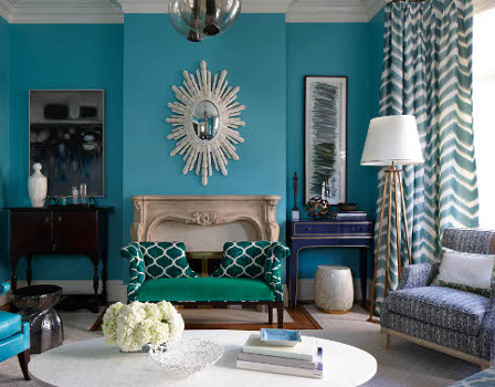 Colourful home interiors interior design turquoise silver green blue