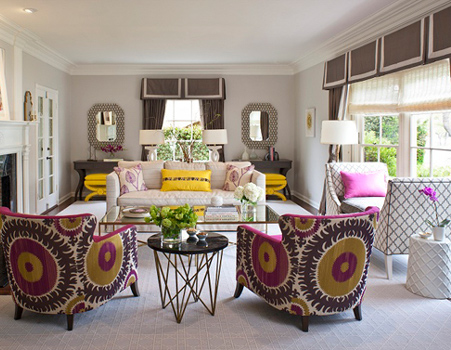Colourful home interiors interior design pink yellow purple gold