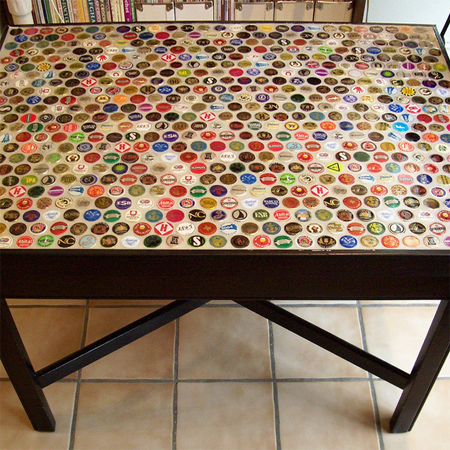 Craft ideas using bottle caps table