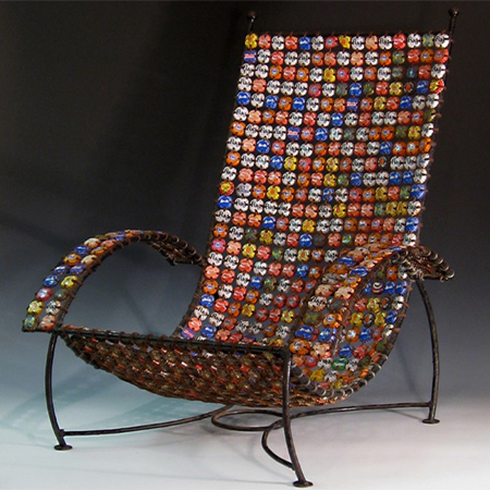 Craft ideas using bottle caps chair