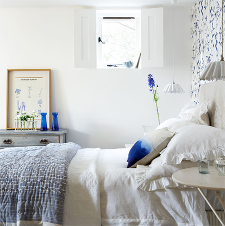 decorating with white living spaces interiors bedroom with blue
