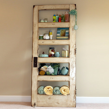 ideas and ways to repurpose upcycle recycle use old doors bathroom shelving storage unit