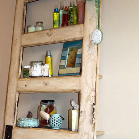 ideas and ways to repurpose upcycle recycle use old doors storage shelf for bathroom