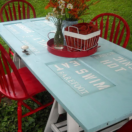 ideas and ways to repurpose upcycle recycle use old doors outdoor picnic garden table