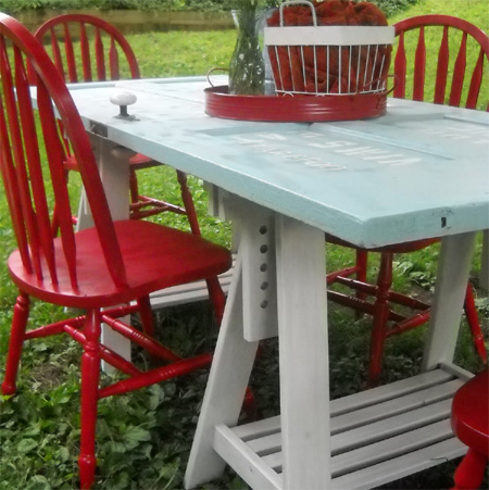 ideas and ways to repurpose upcycle recycle use old doors outdoor dining picnic table
