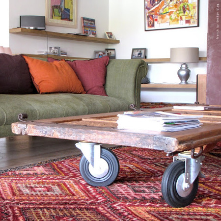 ideas and ways to repurpose upcycle recycle use old doors coffee table with castors wheels