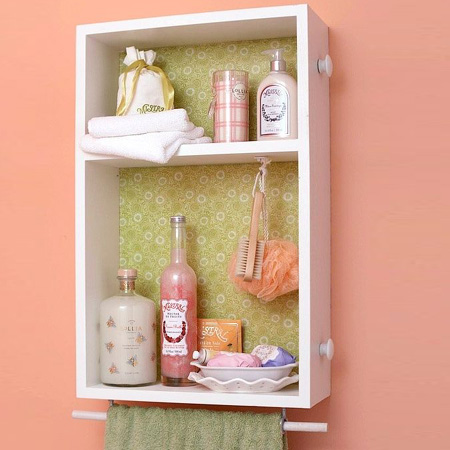 Repurpose an old drawer into a bathroom storage cabinet