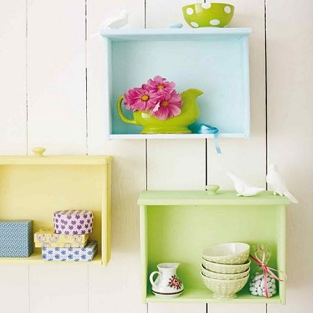 Repurpose an old drawer into wall shelf